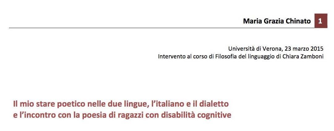 Intervento al corso di Filosofia del linguaggio di Chiara Zamboni, Università di Verona, 23 marzo 2015
